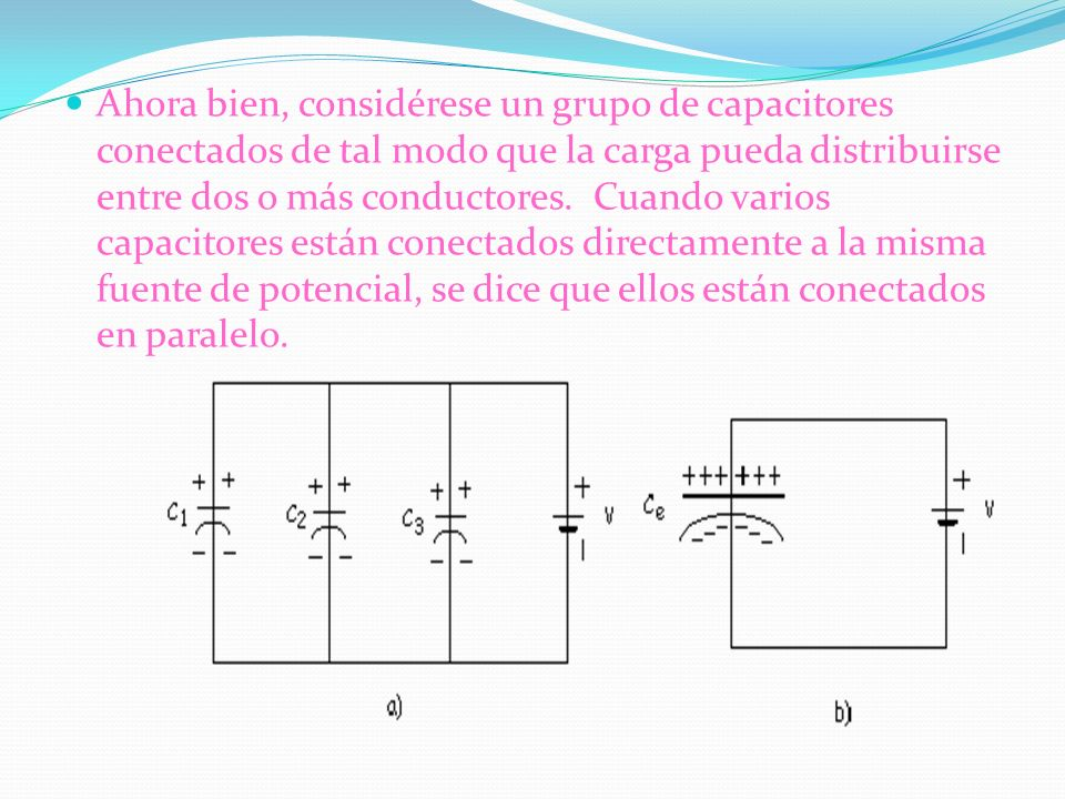 Ahora bien, considérese un grupo de capacitores conectados de tal modo que la carga pueda distribuirse entre dos o más conductores. Cuando varios capacitores están conectados directamente a la misma fuente de potencial, se dice que ellos están conectados en paralelo.
