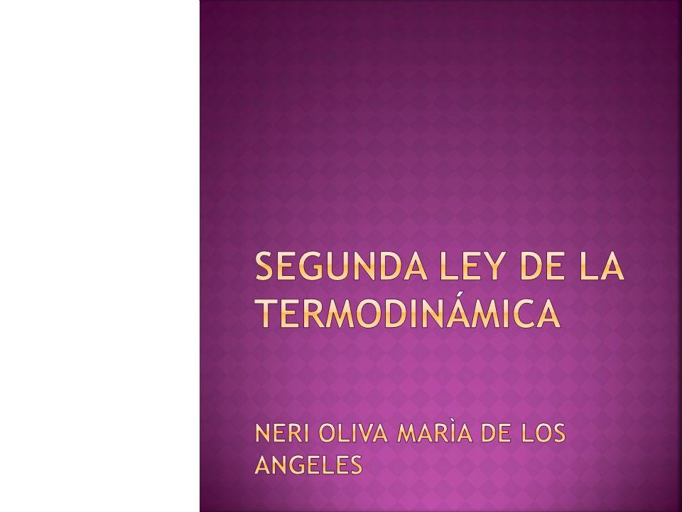 SEGUNDA LEY DE LA TERMODINÁMICA neri OLIVA MARÌA DE LOS ANGELES