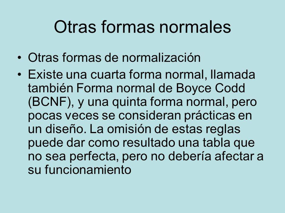 Otras formas normales Otras formas de normalización
