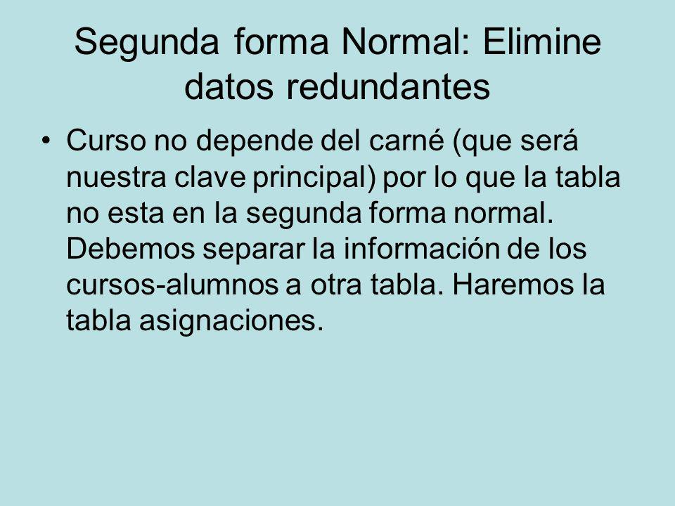 Segunda forma Normal: Elimine datos redundantes