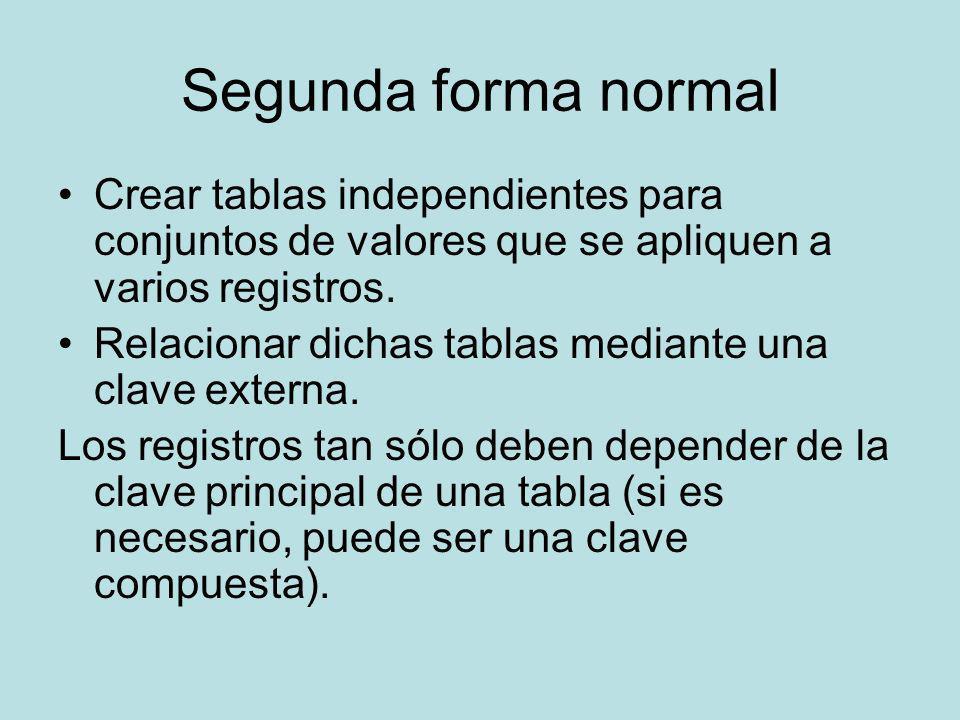 Segunda forma normal Crear tablas independientes para conjuntos de valores que se apliquen a varios registros.
