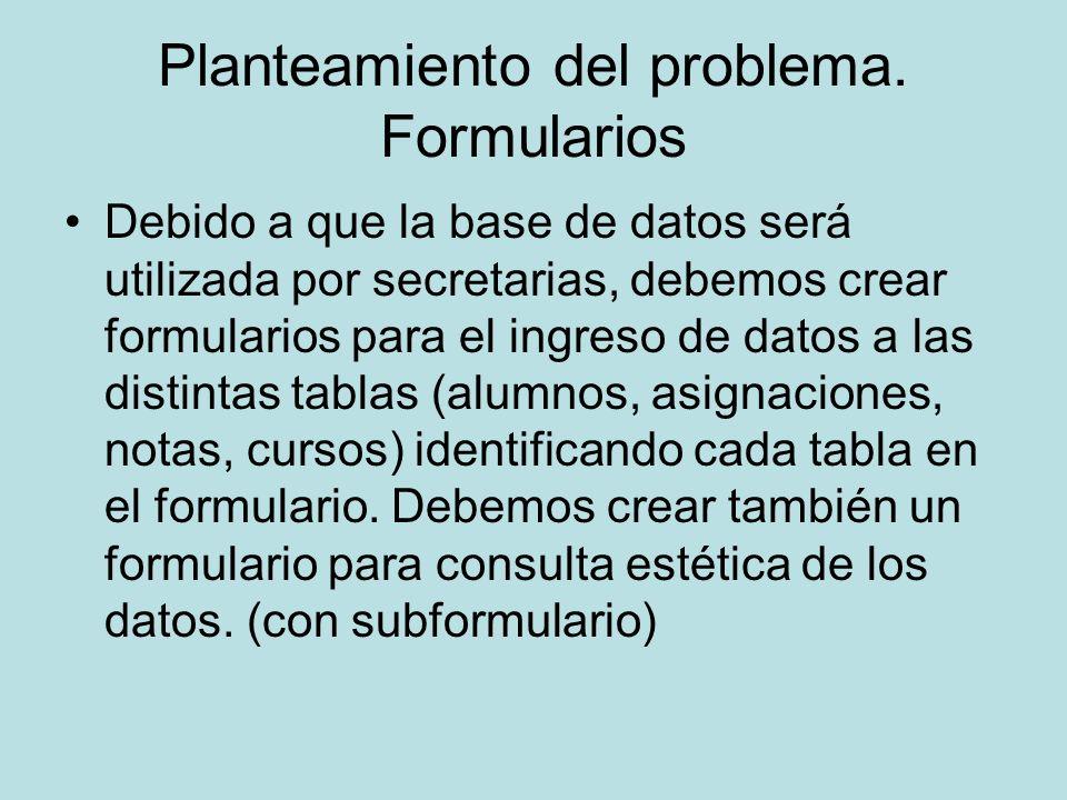Planteamiento del problema. Formularios