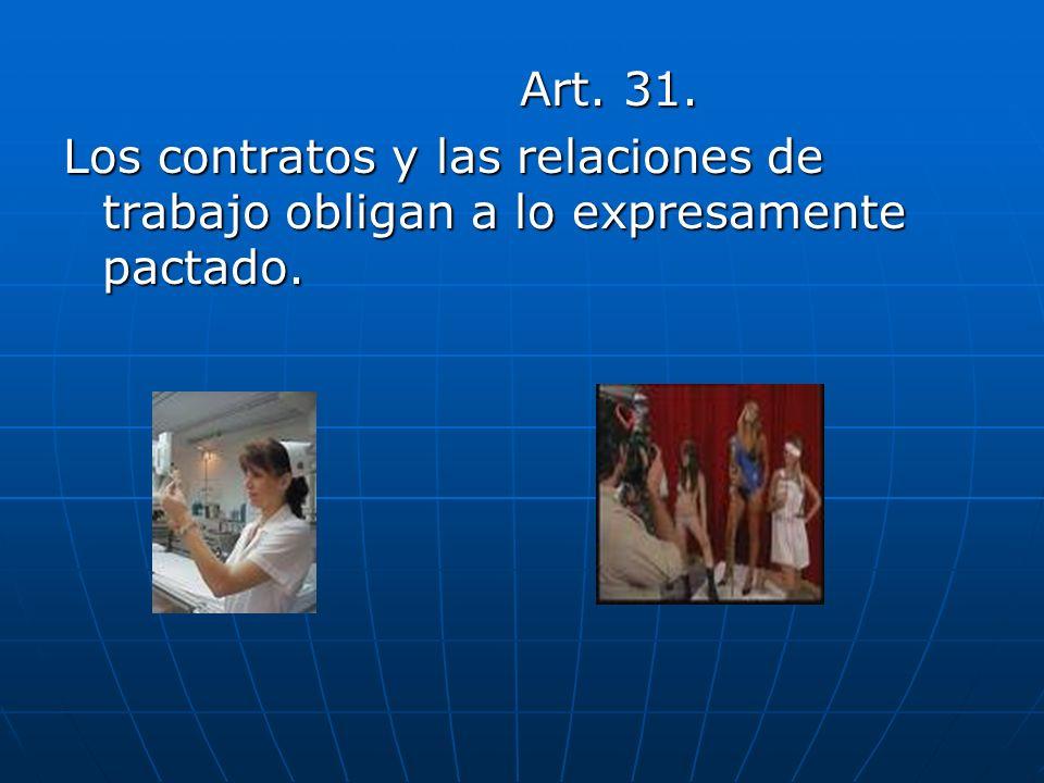 Art. 31. Los contratos y las relaciones de trabajo obligan a lo expresamente pactado.