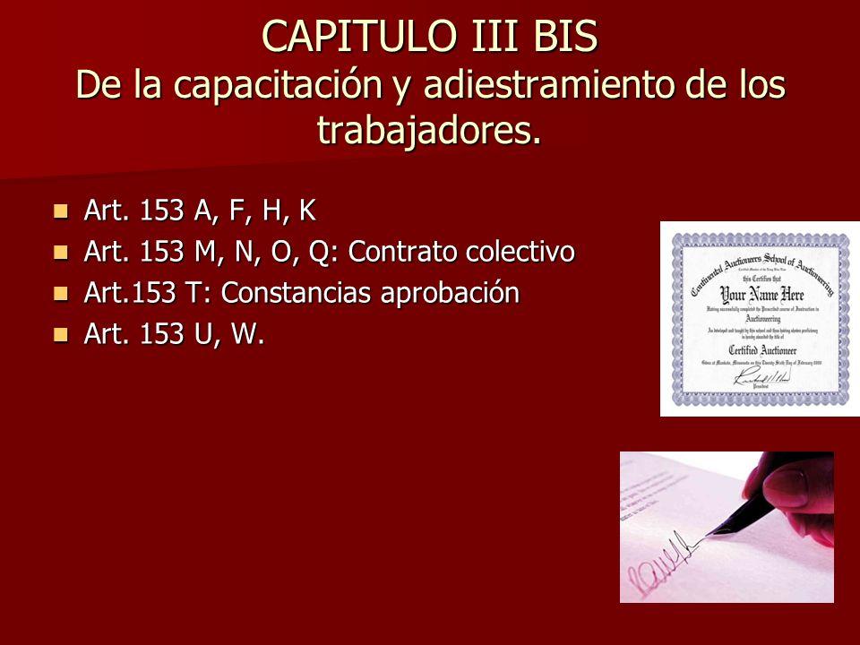 CAPITULO III BIS De la capacitación y adiestramiento de los trabajadores.