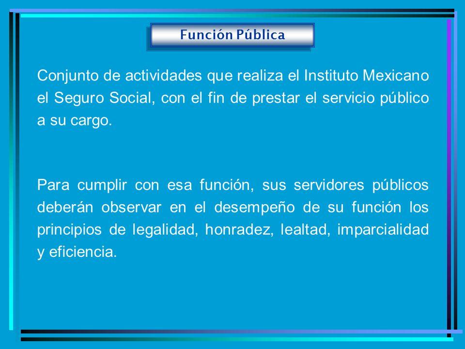Función Pública Conjunto de actividades que realiza el Instituto Mexicano el Seguro Social, con el fin de prestar el servicio público a su cargo.
