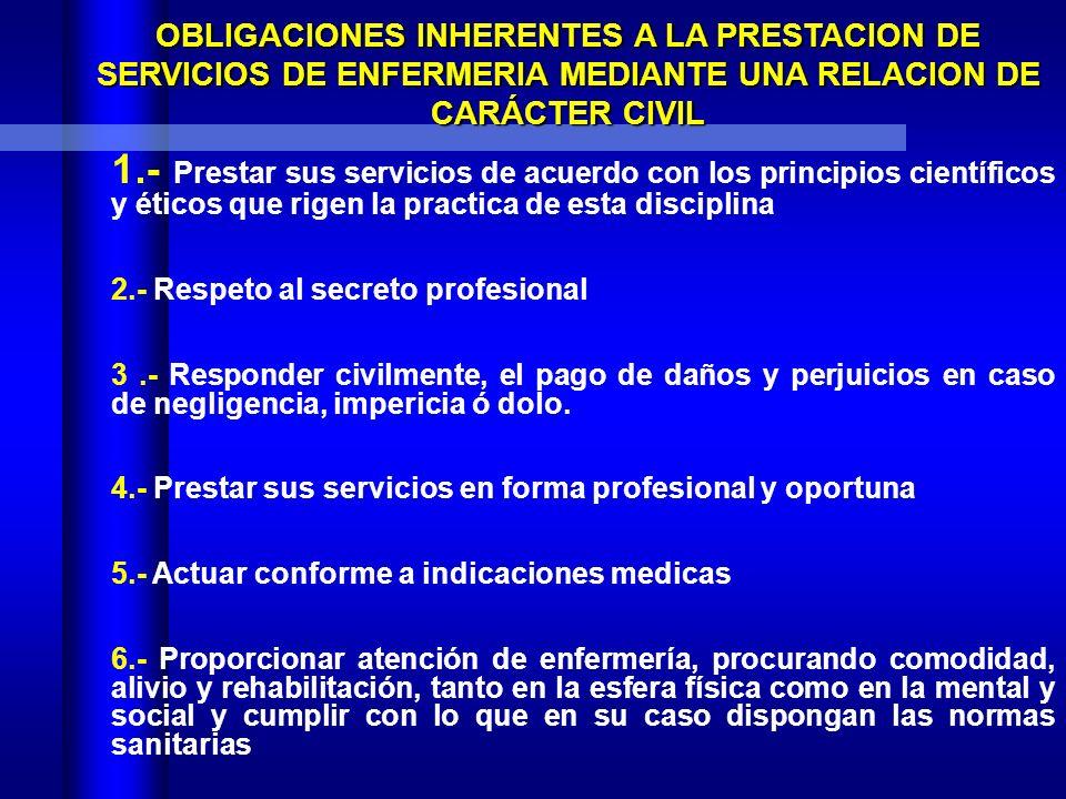 OBLIGACIONES INHERENTES A LA PRESTACION DE SERVICIOS DE ENFERMERIA MEDIANTE UNA RELACION DE CARÁCTER CIVIL