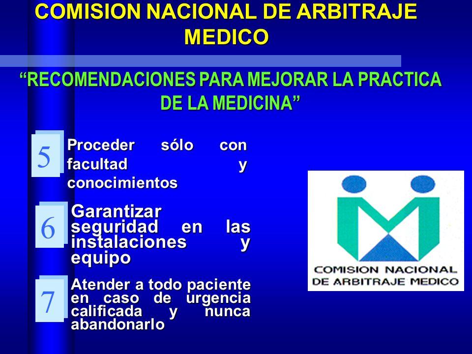 5 6 7 COMISION NACIONAL DE ARBITRAJE MEDICO