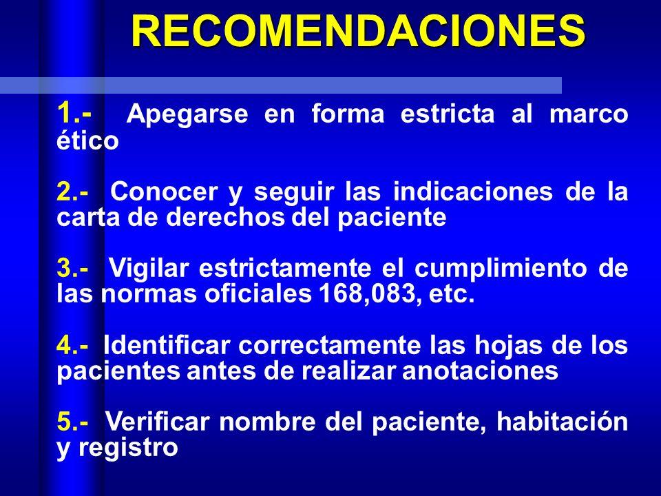 RECOMENDACIONES 1.- Apegarse en forma estricta al marco ético
