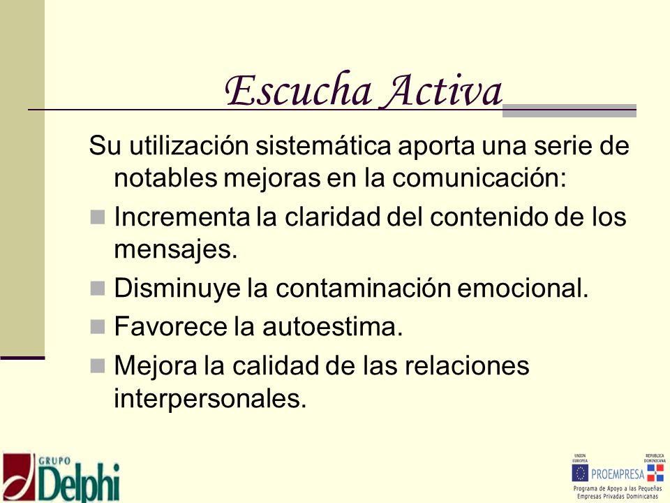 Escucha ActivaSu utilización sistemática aporta una serie de notables mejoras en la comunicación: