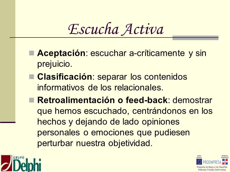 Escucha Activa Aceptación: escuchar a-críticamente y sin prejuicio.