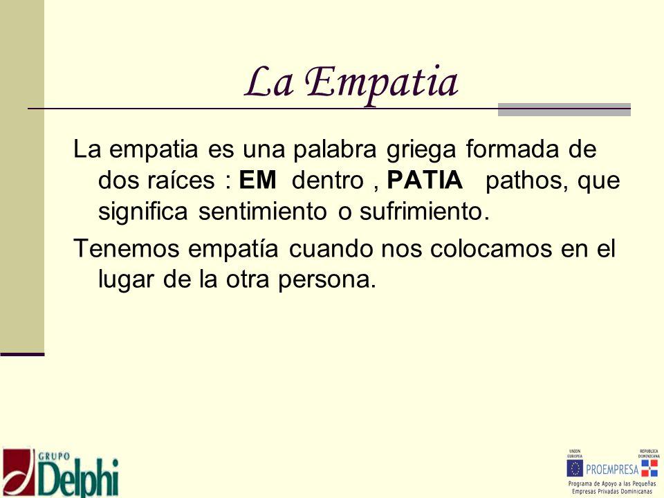 La EmpatiaLa empatia es una palabra griega formada de dos raíces : EM dentro , PATIA pathos, que significa sentimiento o sufrimiento.