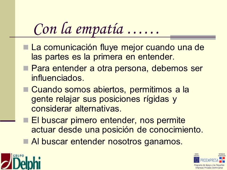 Con la empatía ……La comunicación fluye mejor cuando una de las partes es la primera en entender.
