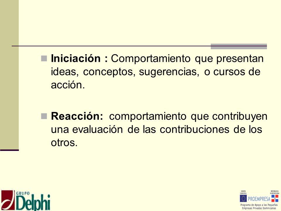 Iniciación : Comportamiento que presentan ideas, conceptos, sugerencias, o cursos de acción.