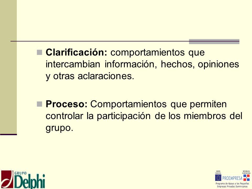 Clarificación: comportamientos que intercambian información, hechos, opiniones y otras aclaraciones.