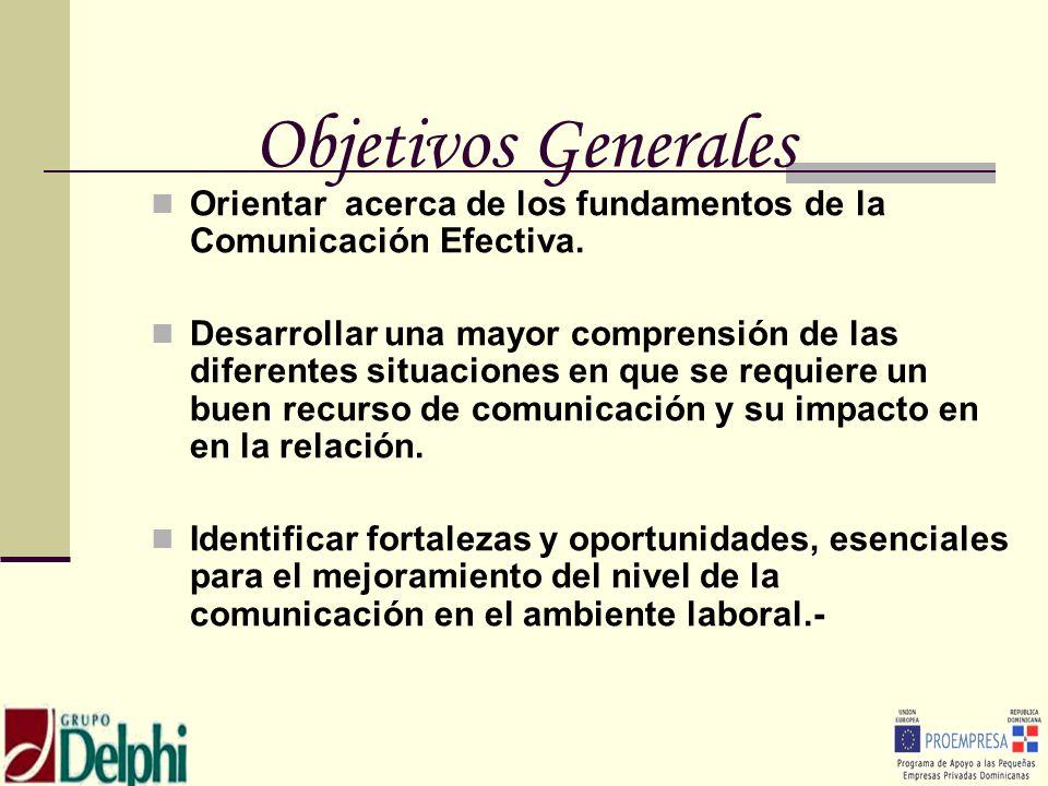 Objetivos GeneralesOrientar acerca de los fundamentos de la Comunicación Efectiva.