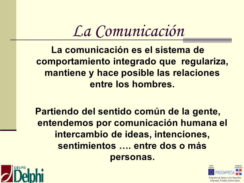 La ComunicaciónLa comunicación es el sistema de comportamiento integrado que regulariza, mantiene y hace posible las relaciones entre los hombres.