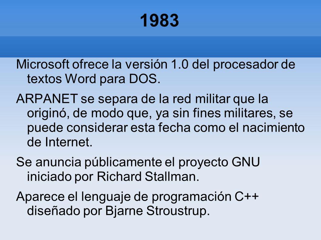 1983 Microsoft ofrece la versión 1.0 del procesador de textos Word para DOS.