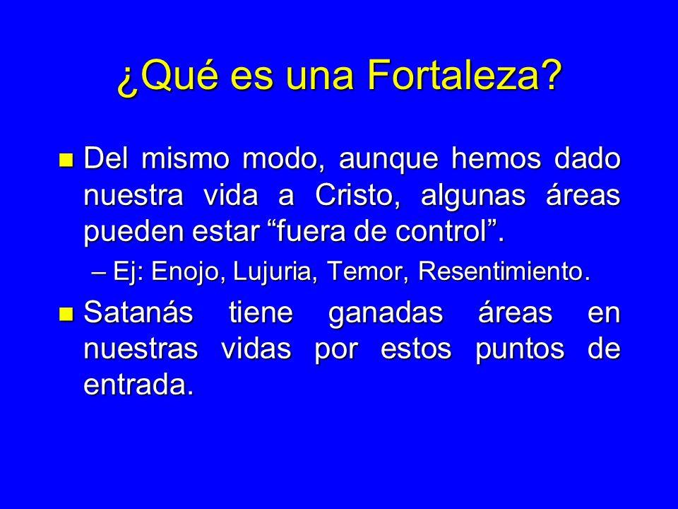 ¿Qué es una Fortaleza Del mismo modo, aunque hemos dado nuestra vida a Cristo, algunas áreas pueden estar fuera de control .