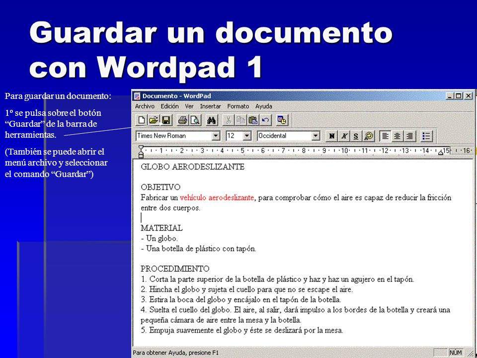 Guardar un documento con Wordpad 1