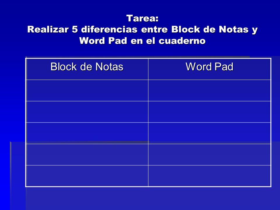 Tarea: Realizar 5 diferencias entre Block de Notas y Word Pad en el cuaderno