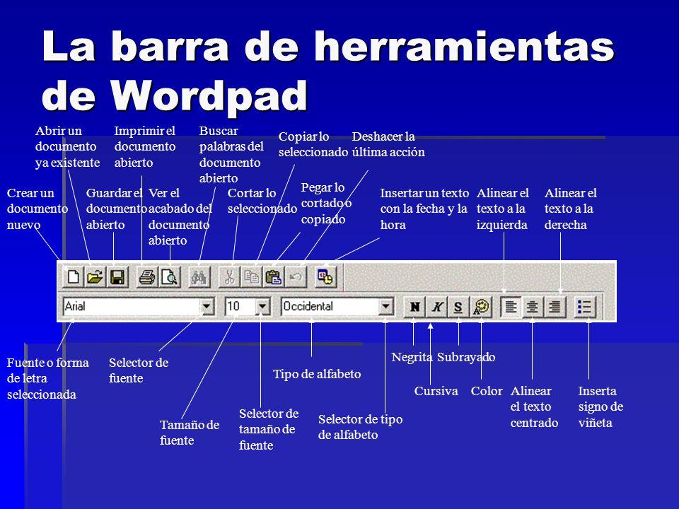 La barra de herramientas de Wordpad