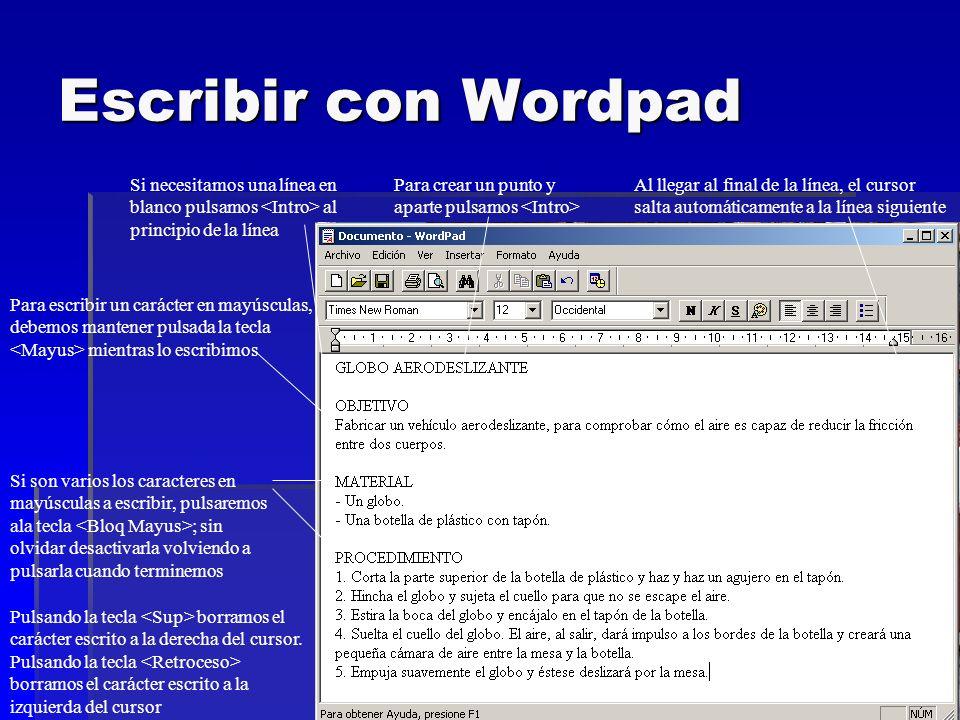 Escribir con Wordpad Si necesitamos una línea en blanco pulsamos <Intro> al principio de la línea. Para crear un punto y aparte pulsamos <Intro>