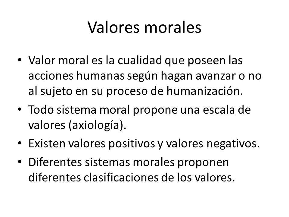 Valores morales Valor moral es la cualidad que poseen las acciones humanas según hagan avanzar o no al sujeto en su proceso de humanización.
