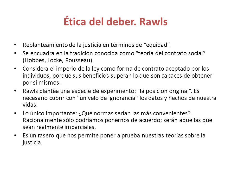 Ética del deber. Rawls Replanteamiento de la justicia en términos de equidad .
