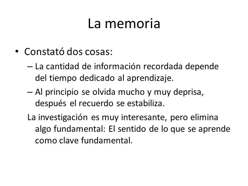 La memoria Constató dos cosas: