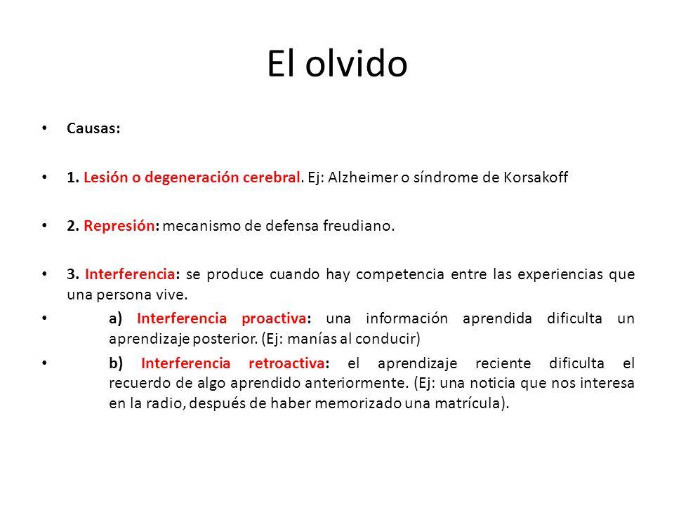 El olvido Causas: 1. Lesión o degeneración cerebral. Ej: Alzheimer o síndrome de Korsakoff. 2. Represión: mecanismo de defensa freudiano.