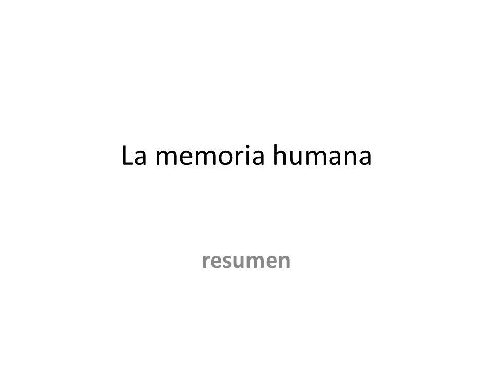 La memoria humana resumen