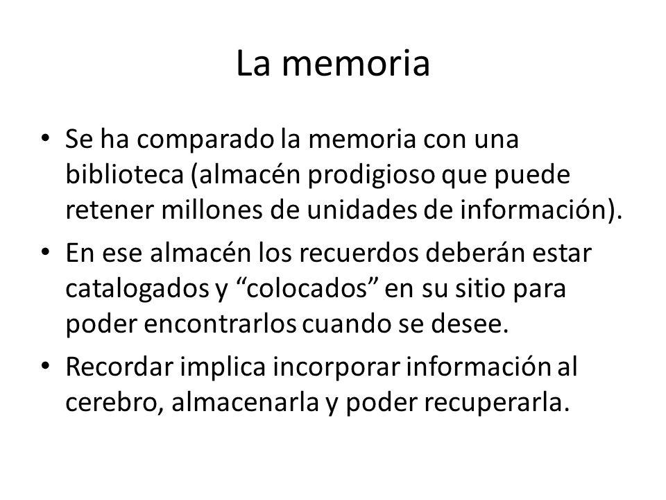La memoria Se ha comparado la memoria con una biblioteca (almacén prodigioso que puede retener millones de unidades de información).