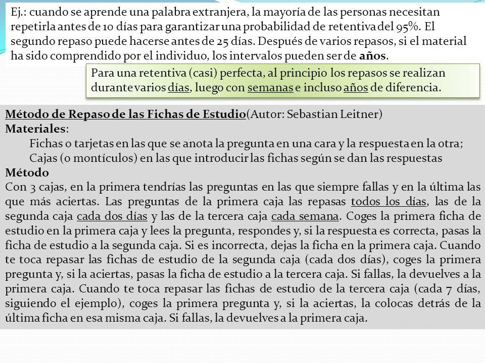 Método de Repaso de las Fichas de Estudio(Autor: Sebastian Leitner)