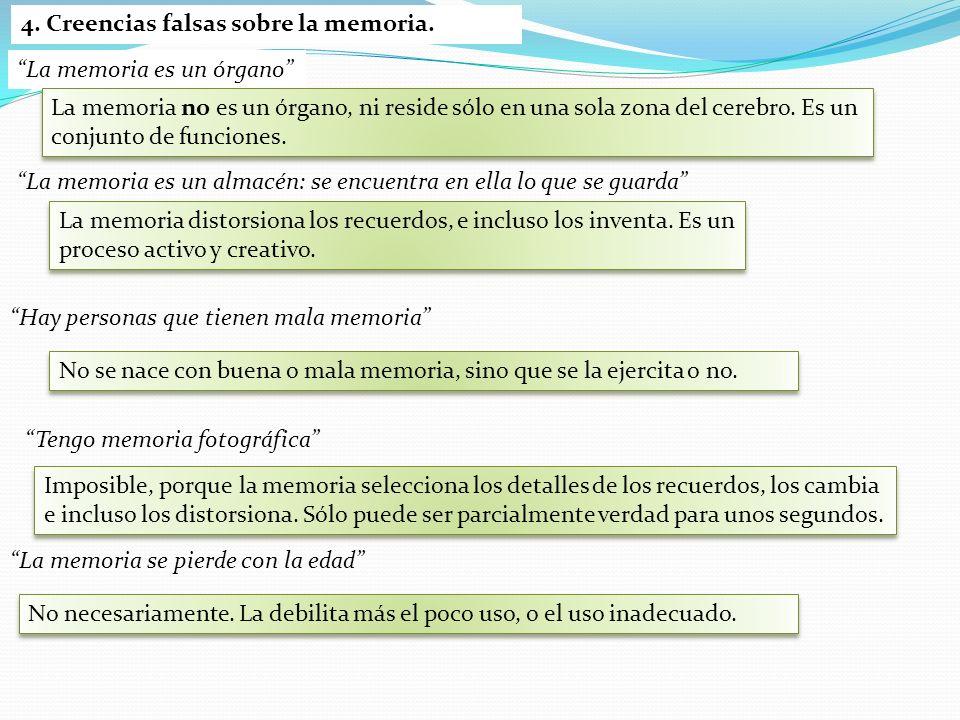 4. Creencias falsas sobre la memoria.