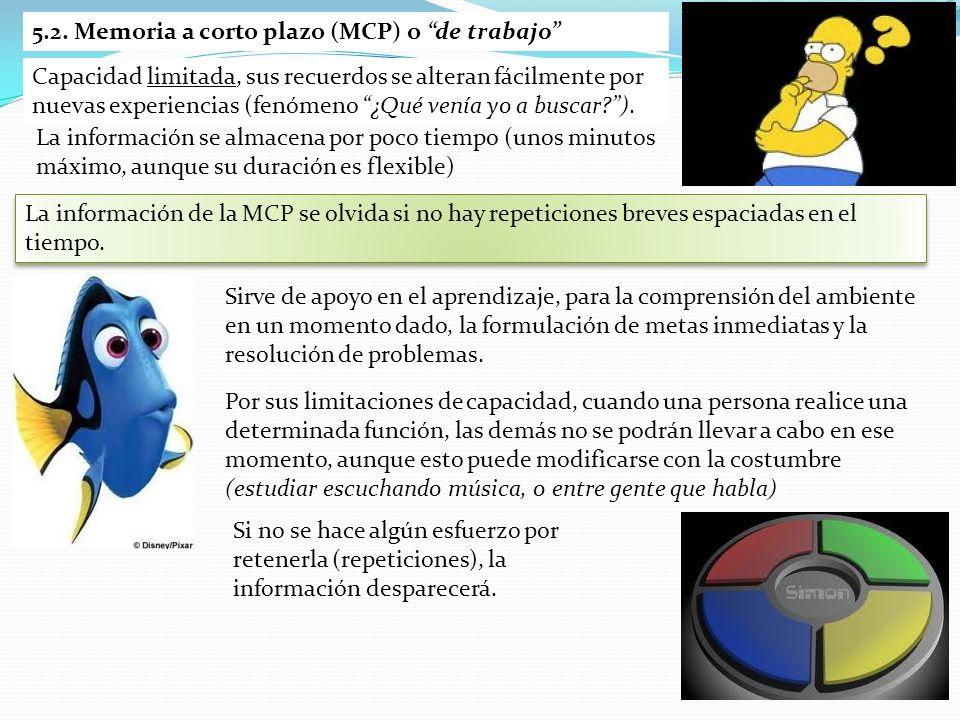 5.2. Memoria a corto plazo (MCP) o de trabajo