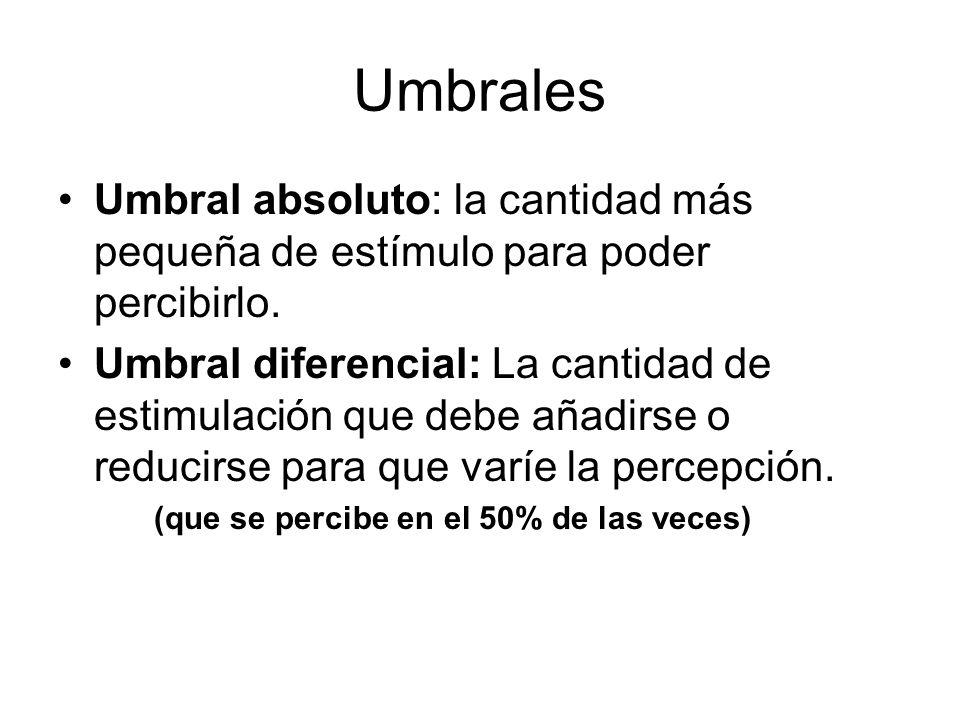 Umbrales Umbral absoluto: la cantidad más pequeña de estímulo para poder percibirlo.