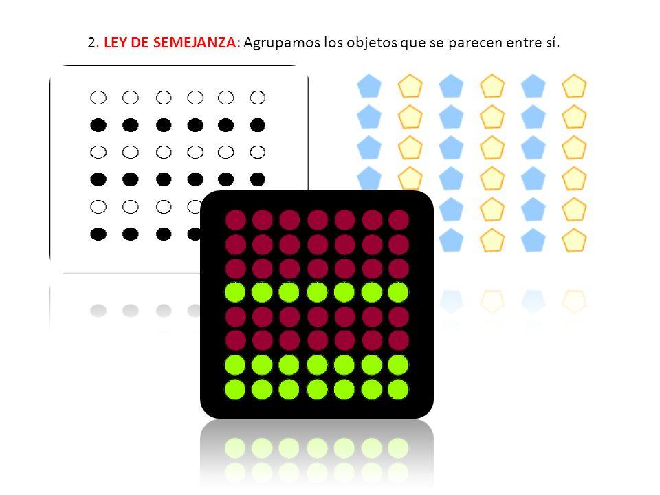 2. LEY DE SEMEJANZA: Agrupamos los objetos que se parecen entre sí.