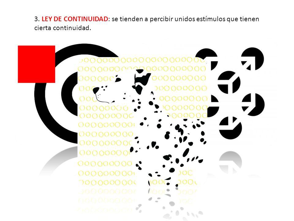 3. LEY DE CONTINUIDAD: se tienden a percibir unidos estímulos que tienen cierta continuidad.