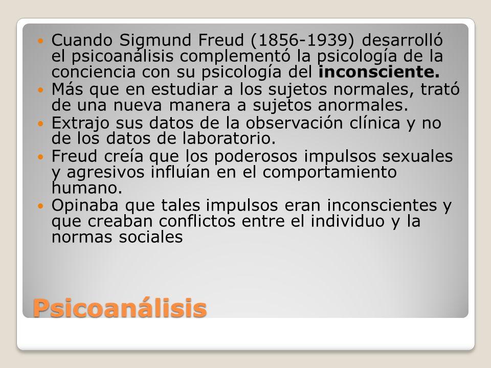 Cuando Sigmund Freud (1856-1939) desarrolló el psicoanálisis complementó la psicología de la conciencia con su psicología del inconsciente.
