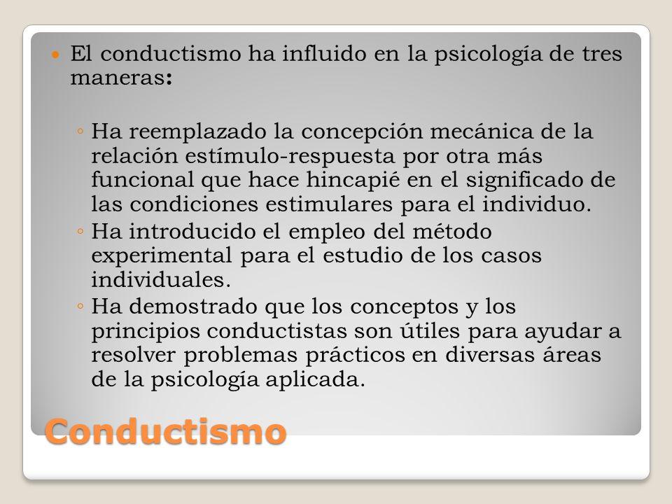 El conductismo ha influido en la psicología de tres maneras: