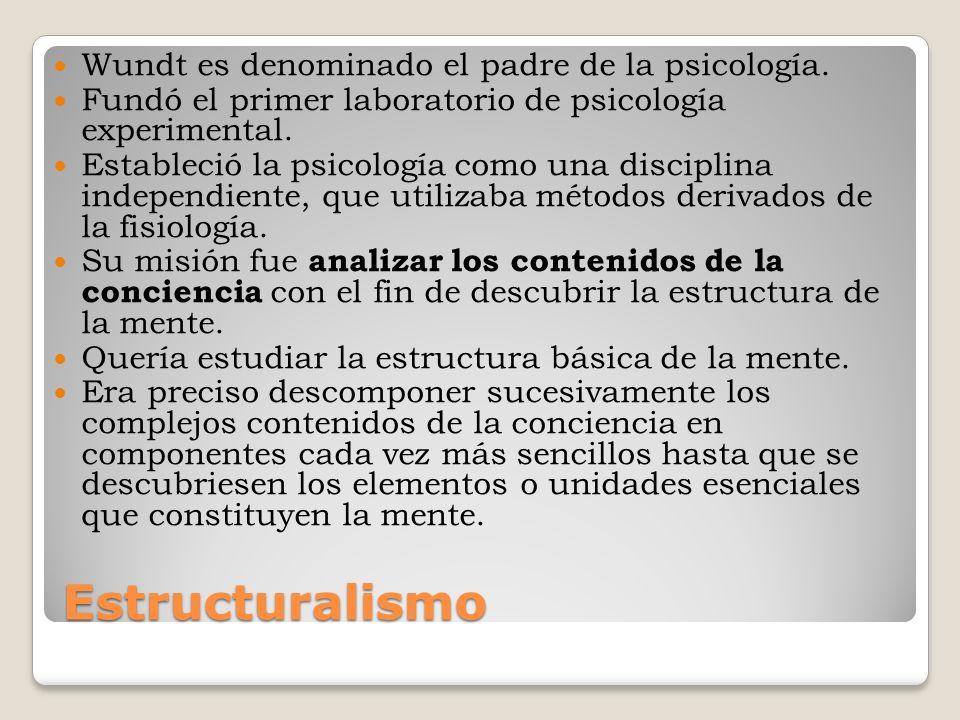 Estructuralismo Wundt es denominado el padre de la psicología.