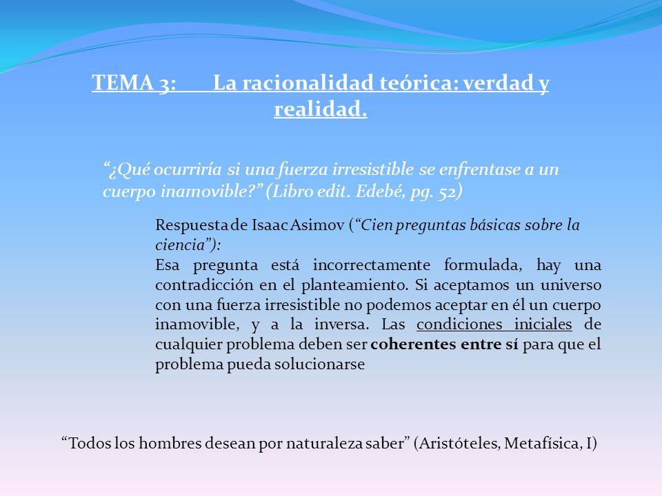 TEMA 3: La racionalidad teórica: verdad y realidad.