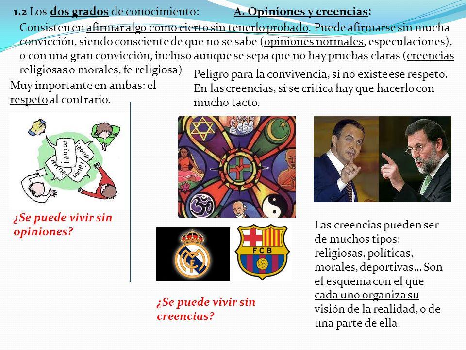 1.2 Los dos grados de conocimiento: A. Opiniones y creencias: