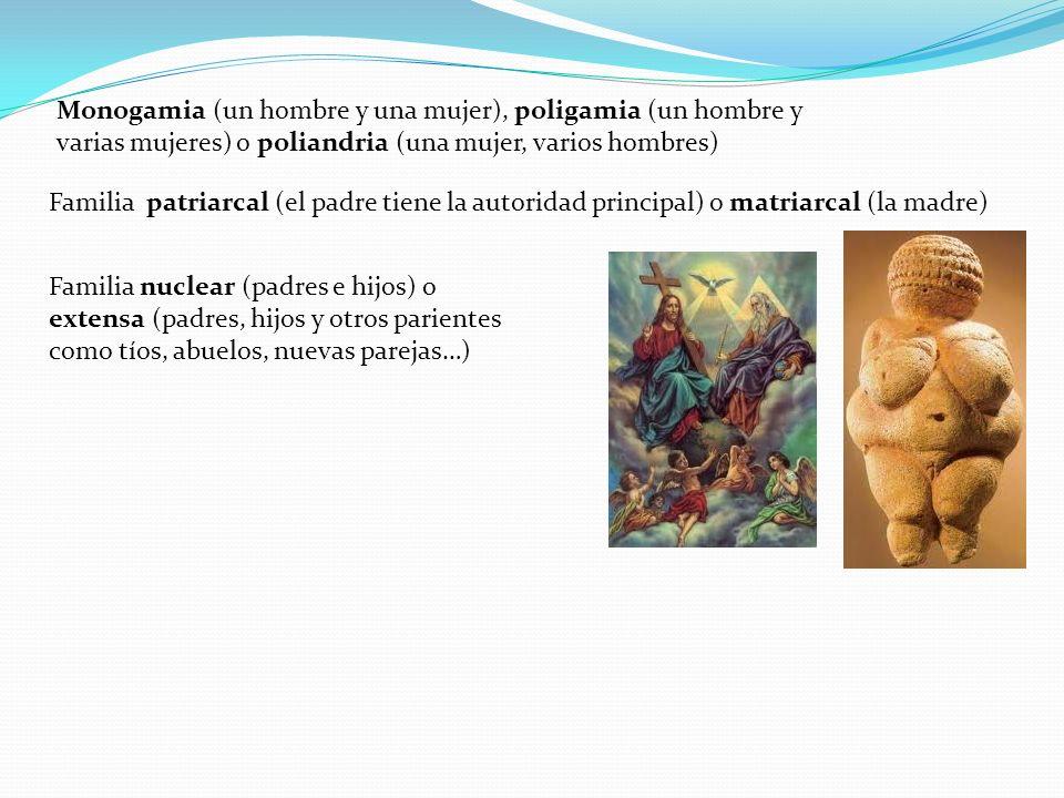 Monogamia (un hombre y una mujer), poligamia (un hombre y varias mujeres) o poliandria (una mujer, varios hombres)