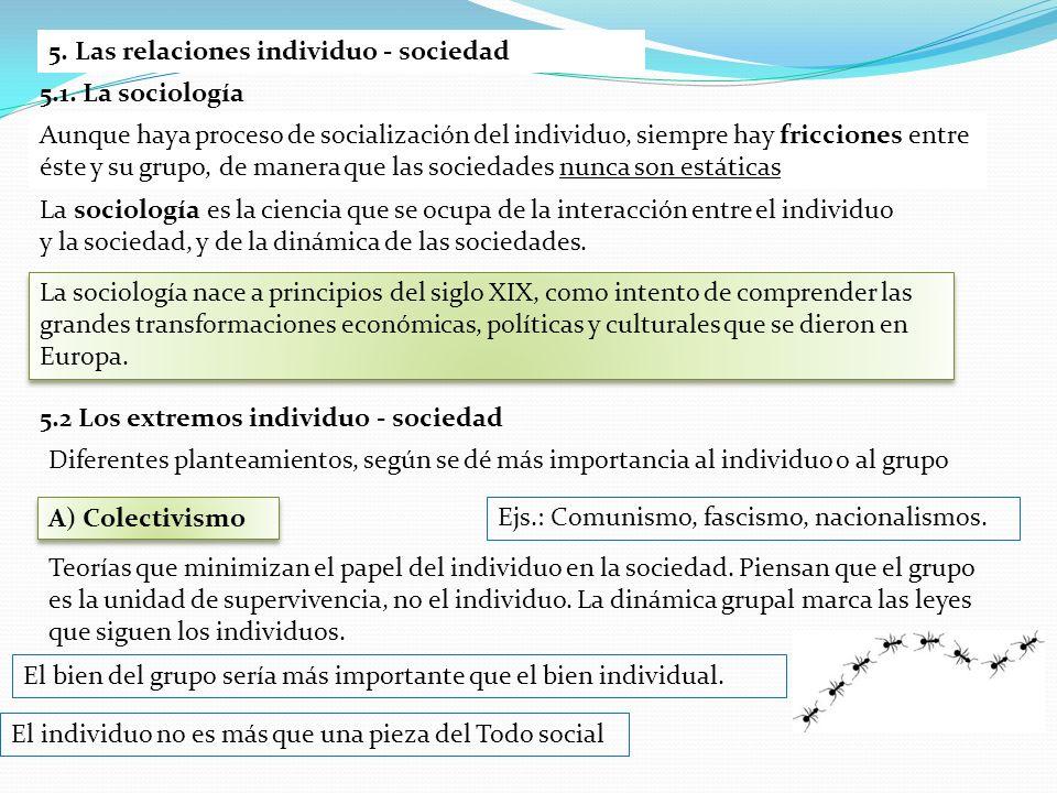 5. Las relaciones individuo - sociedad