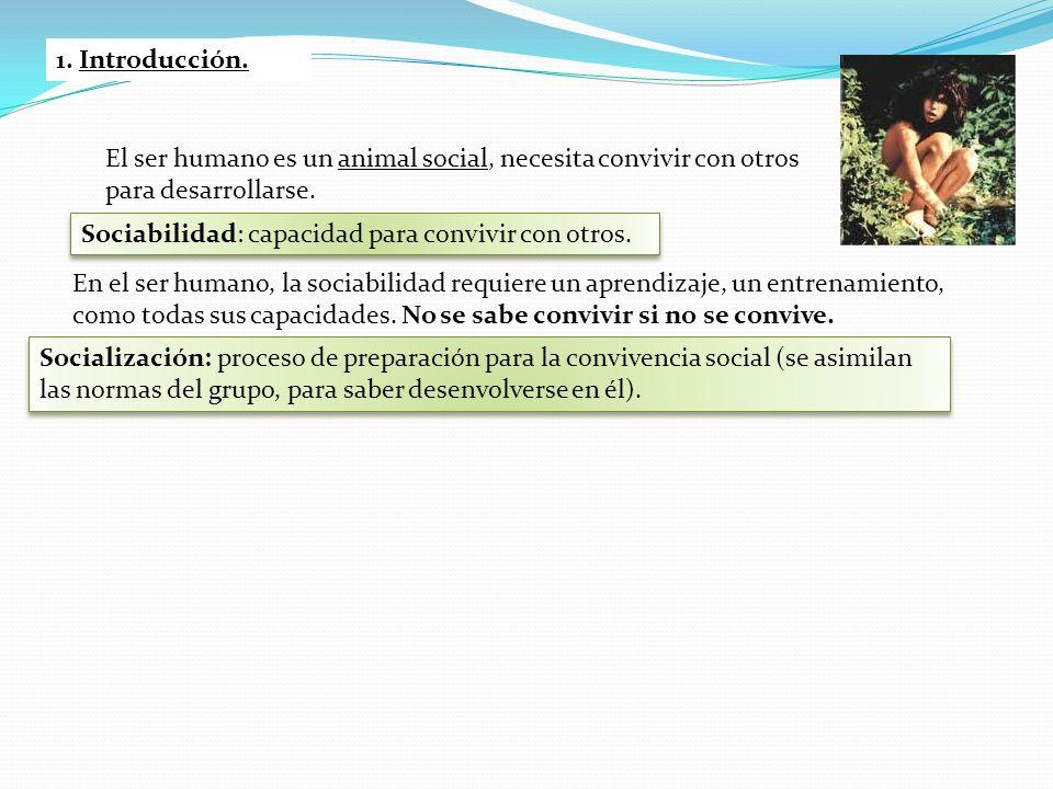 1. Introducción. El ser humano es un animal social, necesita convivir con otros para desarrollarse.