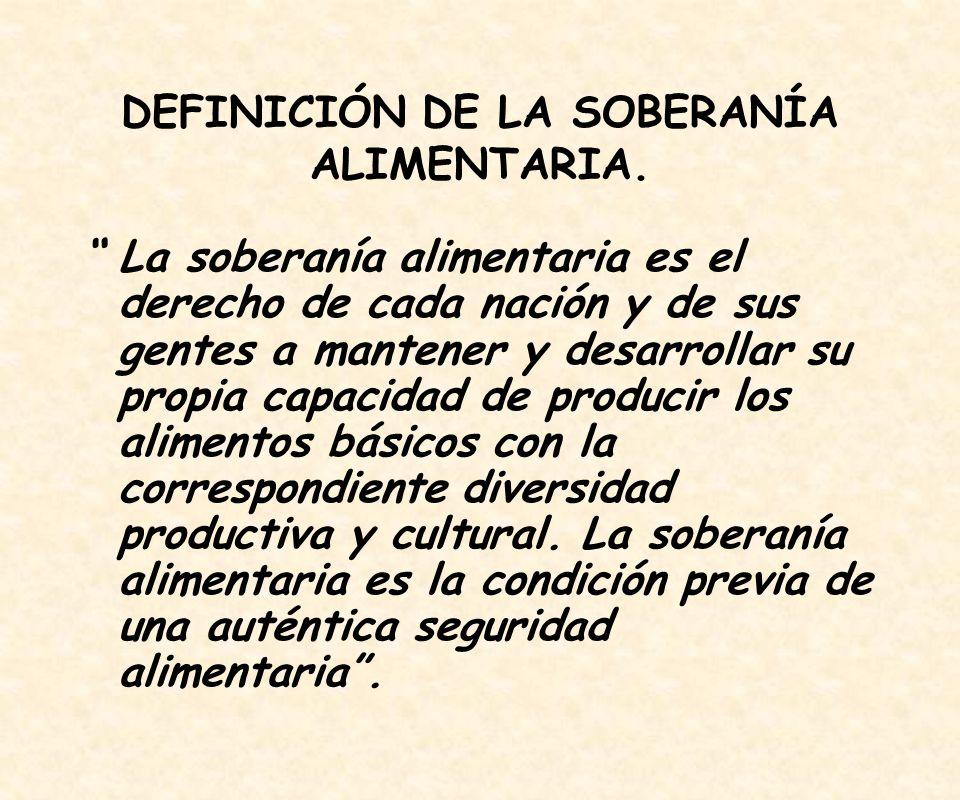 DEFINICIÓN DE LA SOBERANÍA ALIMENTARIA.