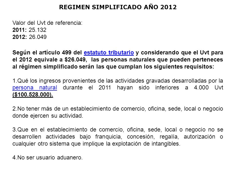 REGIMEN SIMPLIFICADO AÑO 2012