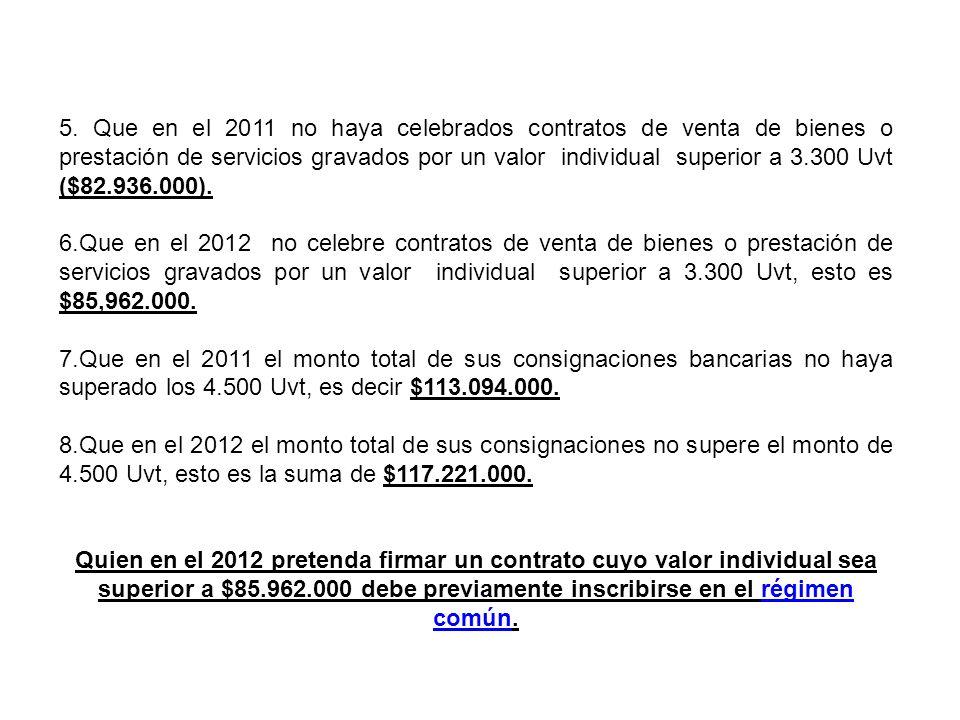 5. Que en el 2011 no haya celebrados contratos de venta de bienes o prestación de servicios gravados por un valor individual superior a 3.300 Uvt ($82.936.000).