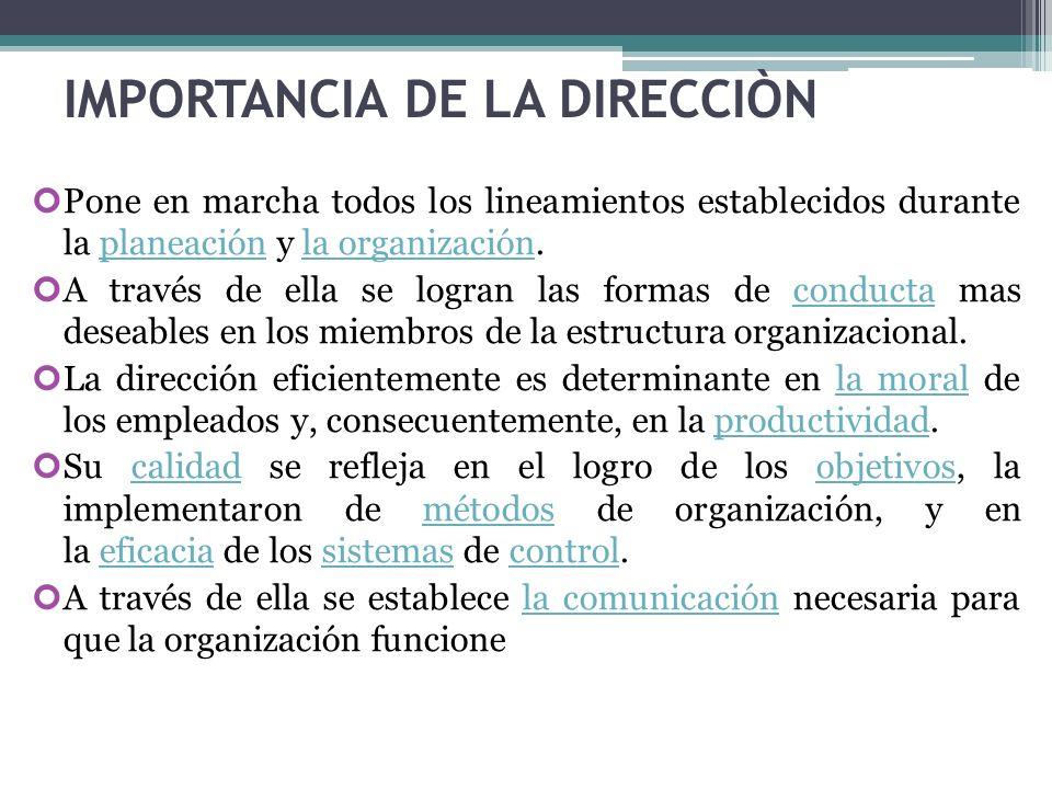 IMPORTANCIA DE LA DIRECCIÒN